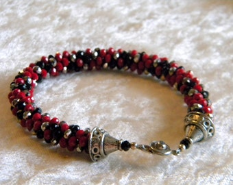 "Red, Black,Silver, Hematite Sparkle Chinese Crystals Kumihimo Bracelet, Ancient Japanese Braiding, Large Wrist, 9 1/2"" long"