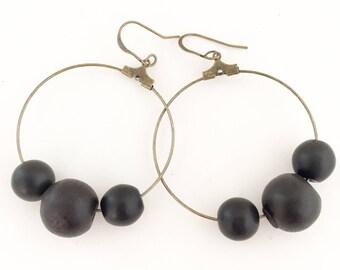 Bead Earrings, Bead Hoop Earrings, Black Bead Earrings.
