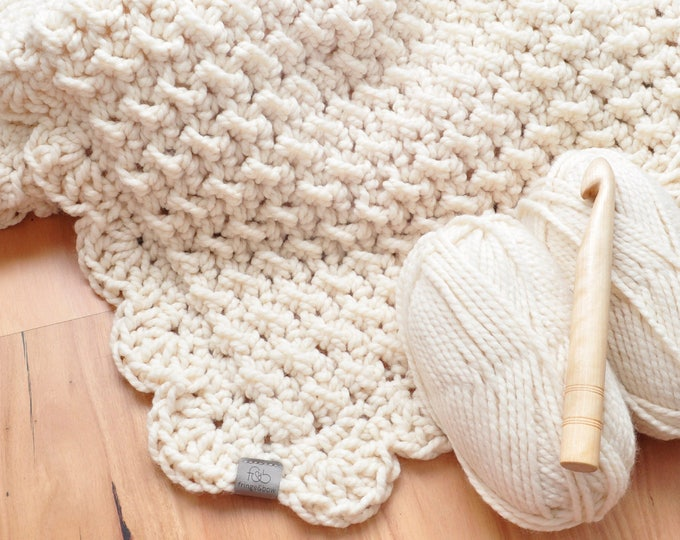 Featured listing image: Marshmallow • Throw • Crochet Chunky Knit • Colour: VANILLA