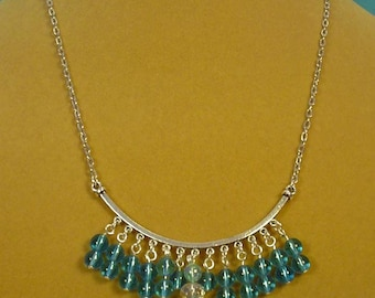 "18"" Aqua Blue and Clear AB Faceted Fringy Focal Necklace - N280"