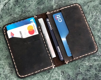 Minimalist Leather Billfold Wallet, Bifold Wallet, Distressed Leather Man Wallet, Personalized Leather Wallet, Fathers Day Gift ID: TEXAS007