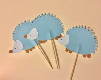 12 Hedgehog cupcake toppers, Hedgehog food picks,  Hedgehog cupcake toppers, Hedgehog baby shower cupcake toppers