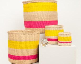 MAZAO: Fluoro Pink & Yellow Woven Storage Basket