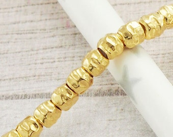 20 of Karen Hill Tribe 24k Gold Vermeil Style Hammered Beads 3.5x3 mm. :vm0572
