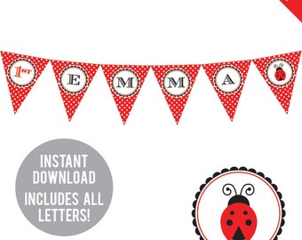 INSTANT DOWNLOAD Ladybug Party - DIY printable pennant banner - Includes all letters, plus ages 1-18