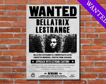 Harry Potter Bellatrix Lestrange Wanted Harry Potter Printable Poster Harry Potter Art Harry Potter Print Harry Potter Deco Harry Potter