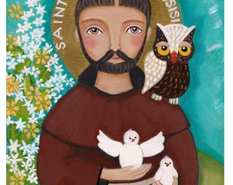 Folk Art  Painting, St. Francis of Assisi, Print  8 x 10 in, Mixed Media, Wall Decore by Evona