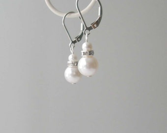 White Pearl Earrings, Pearl and Sterling Earrings, Pearl Bridal Earrings, Pearl and Crystal Drop Earrings, Bridesmaid Gift, Bridal Accessory