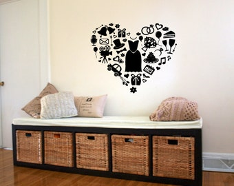 Wall Decal Sticker Bedroom Heart Shoesh Clothes Funny Girls Room Home Decor  361b