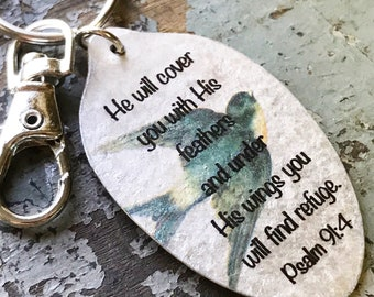 Psalm 91:4 He Will Cover You with His Feathers and Under His Wings You Will Find Refuge Spoon Keychain, Inspiring Jewelry, Scripture Gift