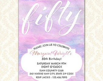 Birthday Invitation, Printable Watercolor Invitations For Women, Pastel Feminine Water Color Elegant Birthday Party Invites Any Age, Digital