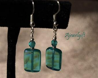 Stunning Teal Czech Glass Earrings 13015