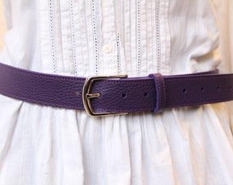 Purple leather belt. women leather belt. women belt. Women (ET.207) leather belt