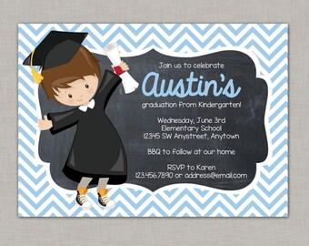 Kindergarten Graduation Invitation Announcement Chalkboard