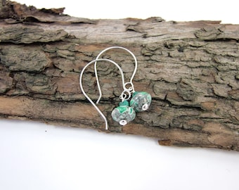 Sterling Silver Jasper & Malachite Earrings, Long Drop Hoop Style Ear Wires, Silver and Green Dropper Earrings, Sterling Silver, Hand Forged