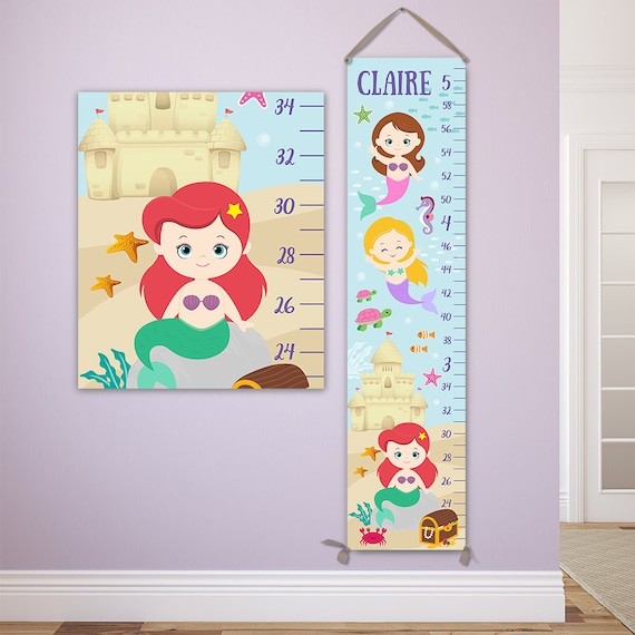 Mermaid Growth Chart - Personalized Canvas Growth Chart - GC4335R