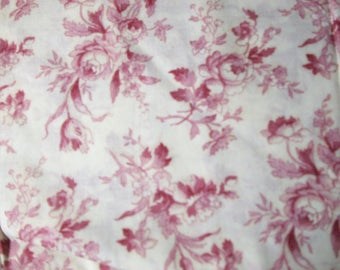 Red FLORAL on white cotton Fabric yardage