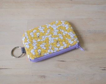 Mini Wallet in Peony - Pouch with Key Ring, Small zip pouch, Valentines Gift