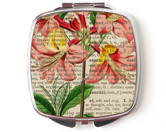 Vintage Floral Compact Mirror - Compact Mirror Gift for Her  - Pocket Mirror - Purse Mirror - Pocket Mirror