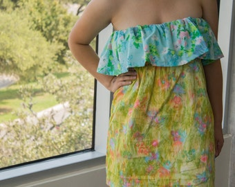Recycled Fabrics in Strapless Ruffled Sundress