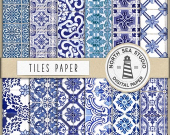 Portuguese Tiles Digital Paper, Tiles Patterns, Blue Portuguese Tiles, Tiles Paper, Blue Mosaic Patterns, For Scrapbooking, BUY5FOR8