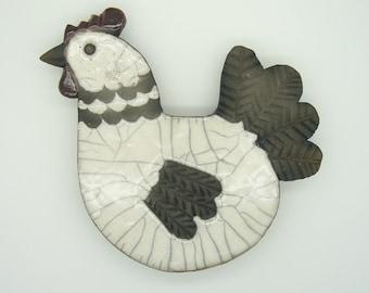 Plate wall hen raku firing