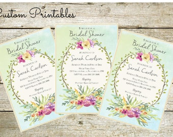 Watercolor Wreath Printable Custom Invitation, Baby Shower, Bridal Shower, Birthday, invitation