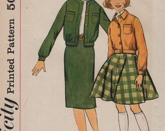 FREE US SHIP Vintage Retro 1950's 50's Sewing Pattern Simplicity 2712 Girls Jacket Full Slim Skirt Uncut size 8 Breast 26 Uncut