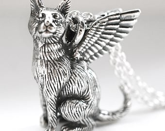 Winged Cat Sterling Silver Necklace Regal Mau