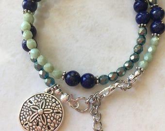 Wrap bracelet, aquamarine lapis bracelet, sand dollar charm, march birthstone