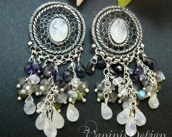SALE - 35% OFF-Day and Night-Sterling Silver,Iolite,Rainbow moonstone and labradorite Earrings