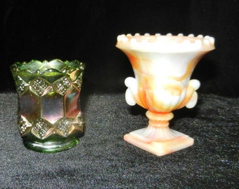 Vintage Pair of Toothpick Holders- Imperial Carnival Glass and Slag Glass