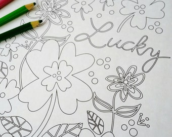 LUCKY coloring page floral design PDF - embroidery St. Patricks Day color