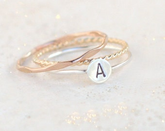 personalized mother's day ring SET. initial ring. gold, silver, rose gold stacking rings. personalized rings. custom hand stamped gift.