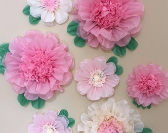 Set of 7 Giant and Large Paper Flowers  - Perfect Decorations for Wedding,Birthday Party&Baby Shower