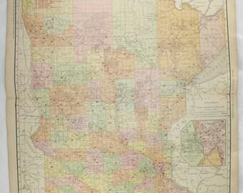 Large Minnesota Map 1903 Vintage Map, Minnesota Railroad Map, MN Map, Man Cave Art Gift for Him, Minnesota Gift