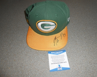 AARON RODGERS SIGNED green bay packers football hat/beckett
