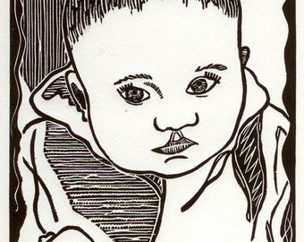 Baby- Linoprint- Shower Gift- Hand-Printed edition of 50-8 x 10 inch image