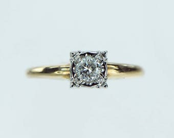 Vintage 1950s Solitaire Diamond Engagement Ring .22ct