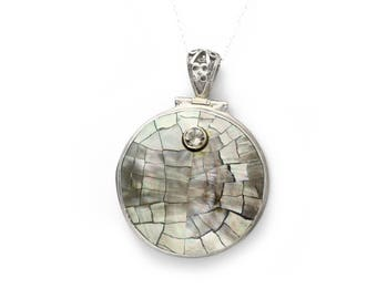 Sterling Silver Round Genuine Abalone Pendant (with complimentary chain)