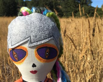 """Handmade eclectic cloth doll 22"""", one of a kind cloth rag doll, colorful art doll, cool cloth doll, extraterrestrial doll, alien girl doll"""