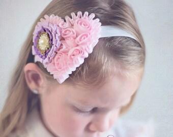 Baby headband, Heart headband, Pink headband, Flower headband, Photo prop headband, Baby Photo prop, Baby bow, Pearl headband