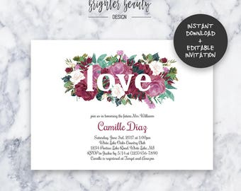 Floral Love Bridal Shower Invitation   INSTANT DOWNLOAD   Editable PDF  Do It Yourself   Printable
