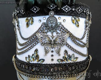 """Burning Man Costume, Festival Headpiece, Marching Band Hat: """"Madame Butterfly"""""""
