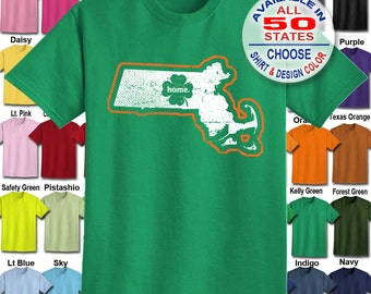 Massachusetts Home State Irish Shamrock  T-Shirt - Adult Unisex - We carry sizes S - 5XL in 30 Colors!