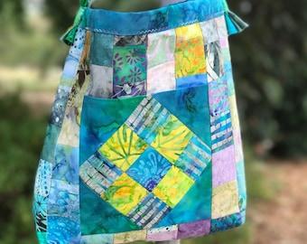 Shoulder Bag in Blues & Aqua