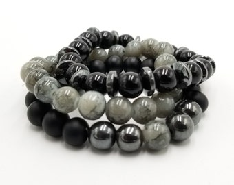 Hematite,Grey Marble, and Matte Black Beaded Stretch Bracelet Set of 3