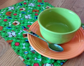 Puppy Fabric Placemats, Set Of 4, Handmade Animal Lover Placemats, Dog Bowl Placemats