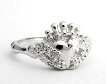 Skeleton Claddagh, Unique Wedding Ring, Goth Claddagh, Skull Jewellery, Punk Jewelry, Alternative, Promise Ring, Till Death Do Us Part, 134