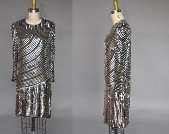 vintage sequin gown   80s silver sequin dress   judith ann sequin dress   sequin mini dress XS